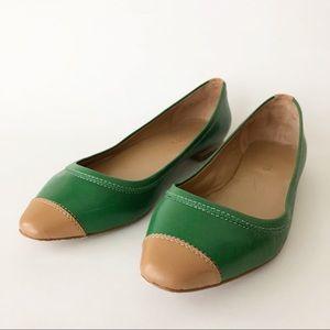 Talbots Green Camel Leather Ballet Flat 10.5